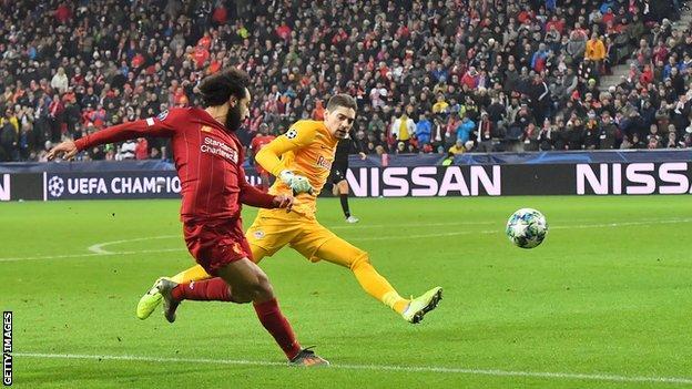 Mohamed Salah scores for Liverpool at RB Salzburg