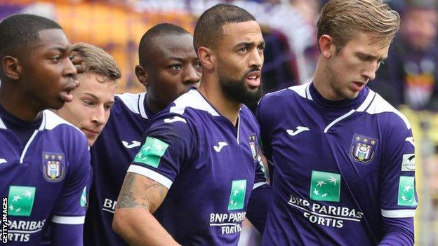 Kemar Roofe (centre) signed a three-year deal with Anderlecht last summer