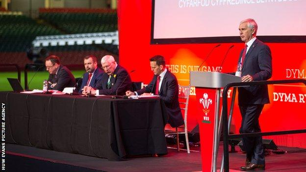 Chairman Gareth Davies speaking at the Welsh Rugby Union Annual General Meeting in November 2019