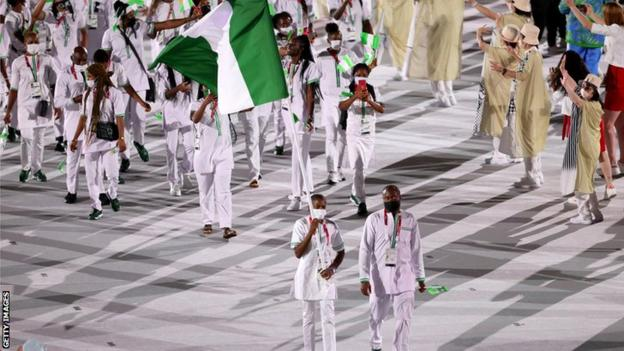 The Nigerian team at the opening ceremony of the Tokyo Olympics