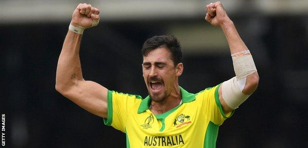 Australia fast bowler Mitchell Starc celebrates a wicket against England in the World Cup group stage match