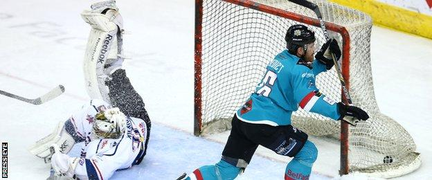 Brandon Benedict's goal put the Belfast Giants into the lead for the first time at 3-2