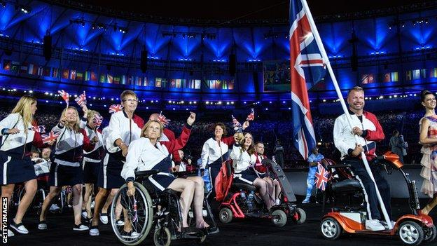 The GB team at the opening ceremony of the Rio Paralympics