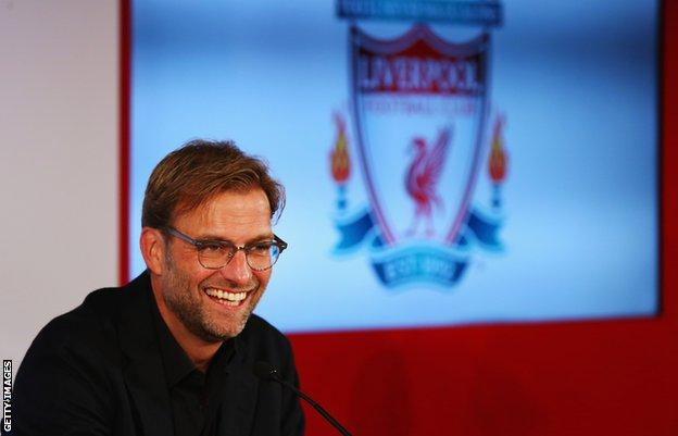 Jurgen Klopp is unveiled as the new manager of Liverpool FC during a press conference at Anfield in October 2015