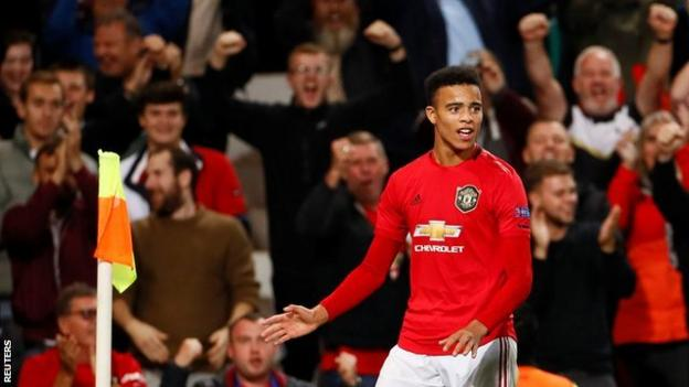 Mason Greenwood celebrates scoring for Manchester United in the Europa League