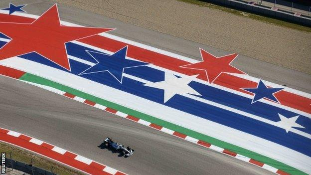 Lewis Hamilton racing at the US Grand Prix