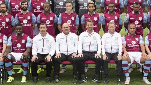 Aston Villa 2015-16 squad photo with Adama Traore (top right) and Micah Richards (bottom left)