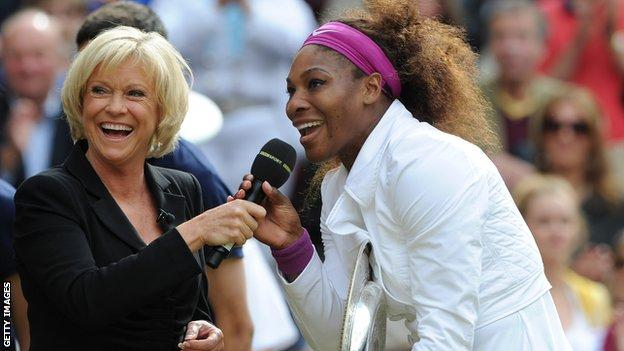 Sue Barker and Serena Williams