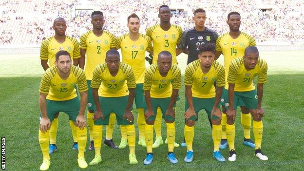 The South Africa team ahead of playing Mali on 13 October