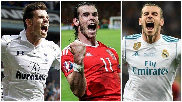 Gareth Bale celebrating big moments for Tottenham, Wales and Real Madrid