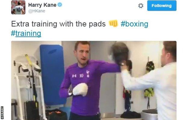 Tottenham hitman Harry Kane in the gym