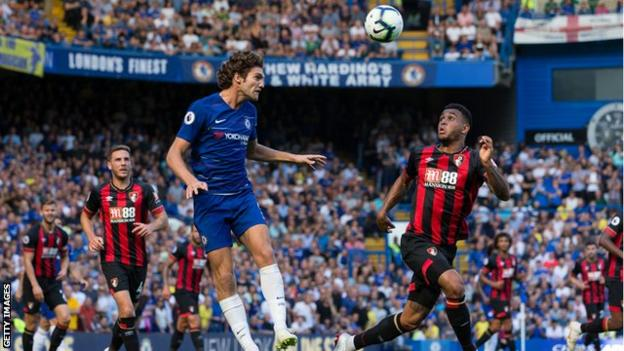 Chelsea's Marcos Alonso in action against Bournemouth