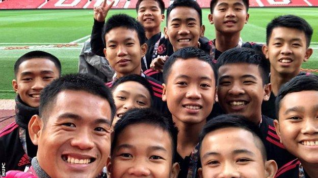 Thai Cave boys pictured at Old Trafford