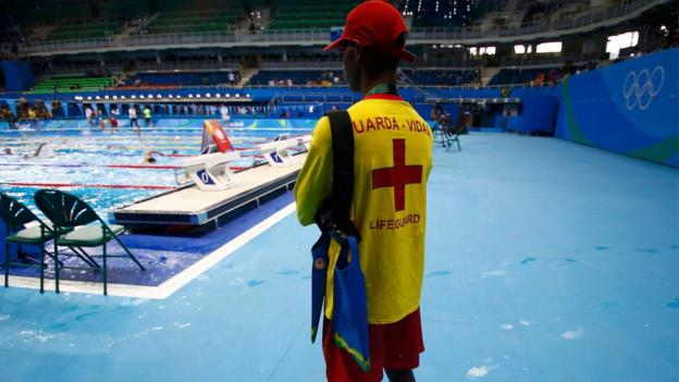 Lifeguard in the Olympic swimming pool