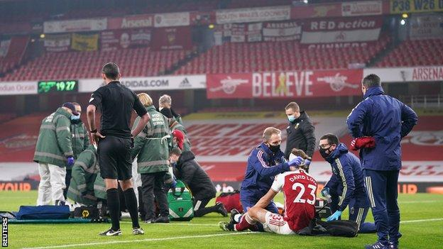 David Luiz was able to continue after receiving treatment following a clash of heads with Raul Jimenez during the Premier League match between Arsenal and Wolves