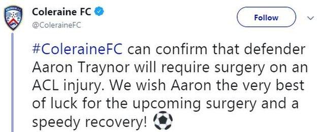 Coleraine announced that Traynor will require surgery on the injury