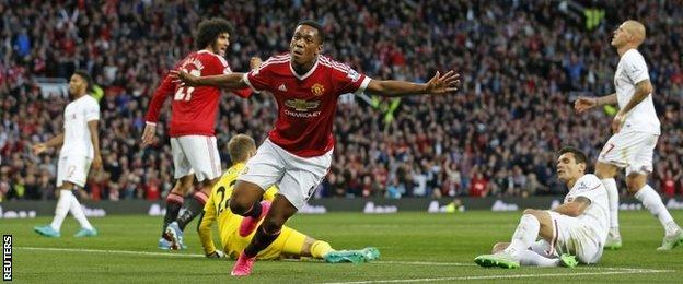 Anthony Martial scores against Liverpool