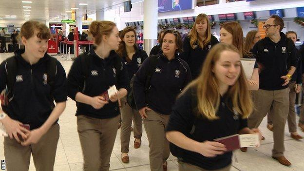 Scotland's women start their journey to Thailand from Glasgow Airport as they try to qualify for the Women's World T20 in 2016