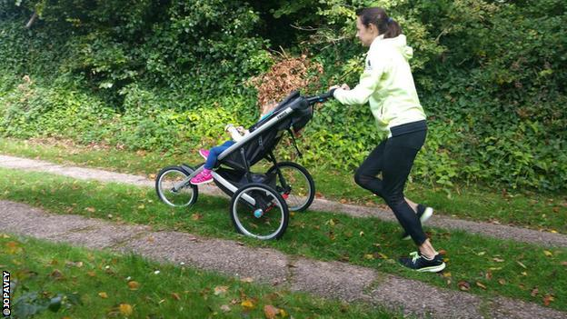 Jo Pavey runs with a buggy