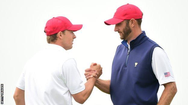 Jordan Spieth (left) and Dustin Johnson
