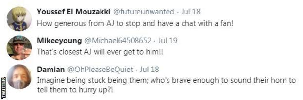 Tyson Fury and Anthony Joshua fans react to the two heavyweights meeting in Spain, one fan says it is the closest AJ will ever get to him while another calls AJ a Fury fan.