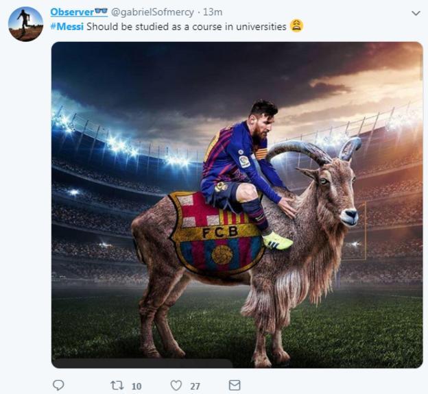 Observer tweet on Lionel Messi
