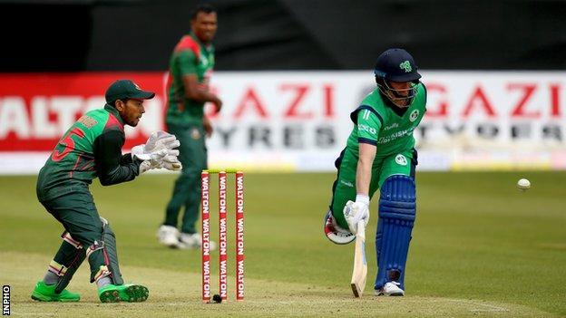 Ireland opener William Porterfield scampers in against Bangladesh