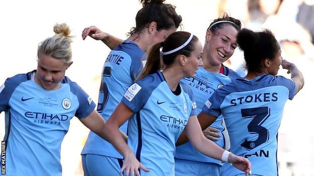 Manchester City celebrate Lucy Bronze's winner