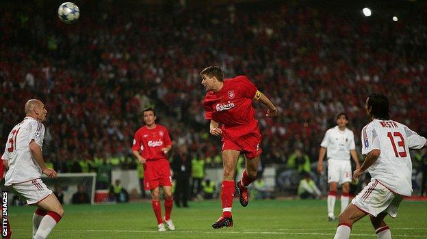 Steven Gerrard heads home Liverpool's first goal