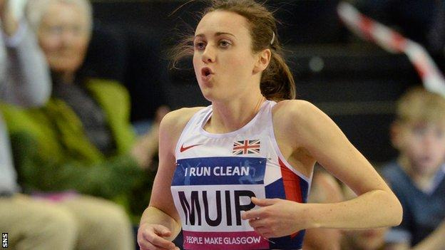 Laura Muir runs at the Glasgow Indoor Grand prix in February