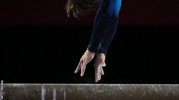Generic shot of balance beam routine