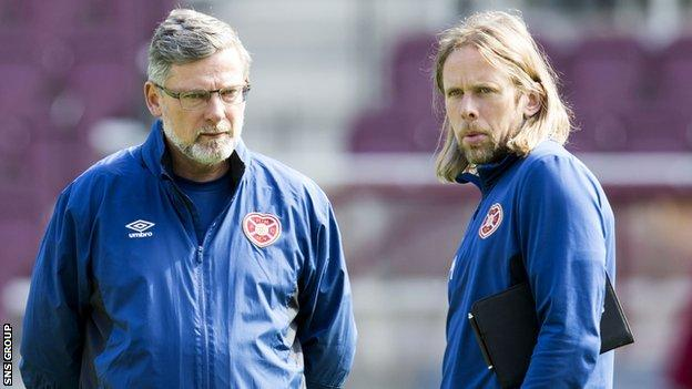 Hearts manager Craig Levein with assistant Austin MacPhee (right)