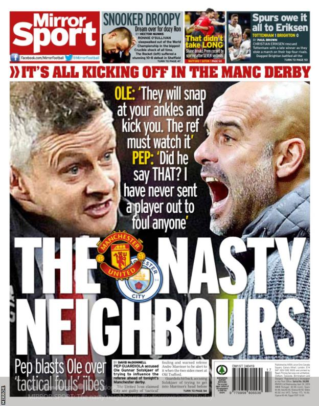 Mirror's back page