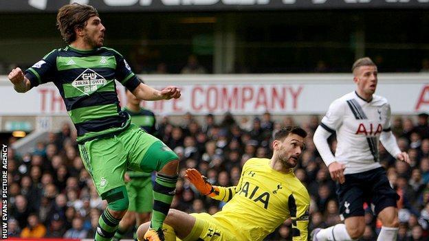 Alberto Paloschi scored his first Swansea goal to put them ahead against Tottenham