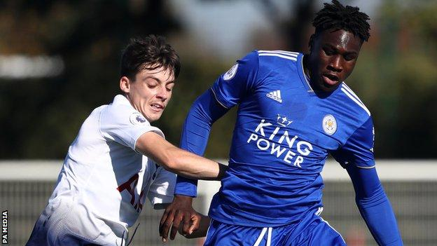 Calvin Bassey (right) in action for Leicester City reserves