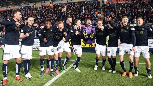 Falkirk players celebrate against Hibs