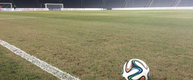The pitch at the Tofiq Bahramov Stadium