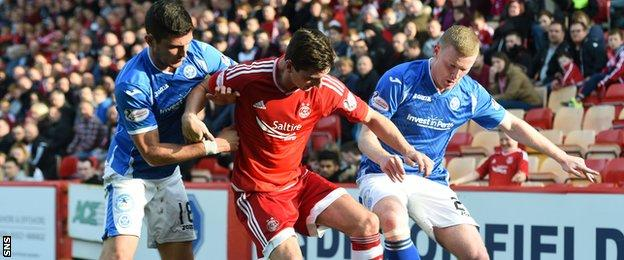 Graham Cummins (right) tackle Aberdeen's Kenny McLean