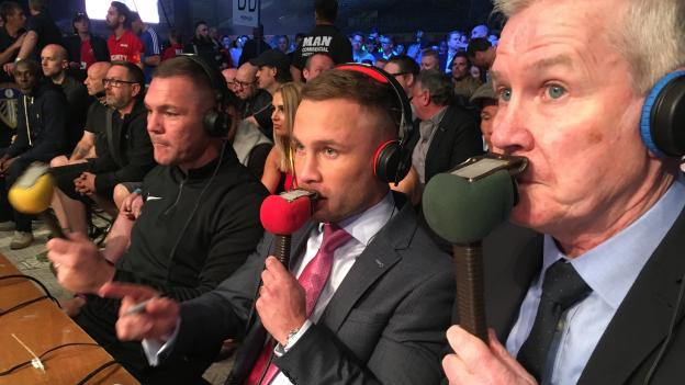 Mike Costello (right), Carl Frampton (centre) and Jamie Moore (left) called the action on BBC Radio 5 live