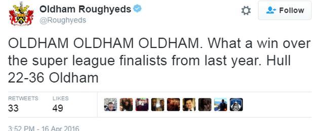 Oldham tweet