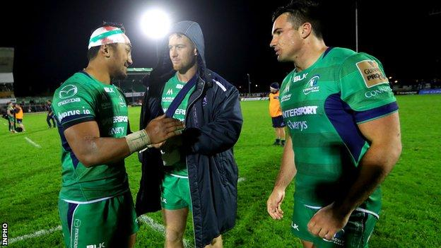 Bundee Aki, Matt Healy and Cian Kelleher celebrate Connacht's first win of the season after the final whistle