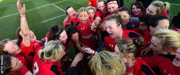 The Wales team celebrate their victory over England in last year's tournament