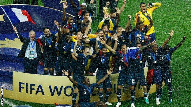 France celebrating winning the World Cup in 2018