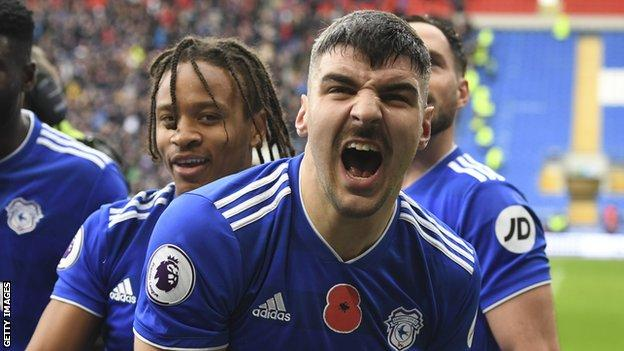 Callum Paterson celebrates his winner for Cardiff City against Brighton last Saturday