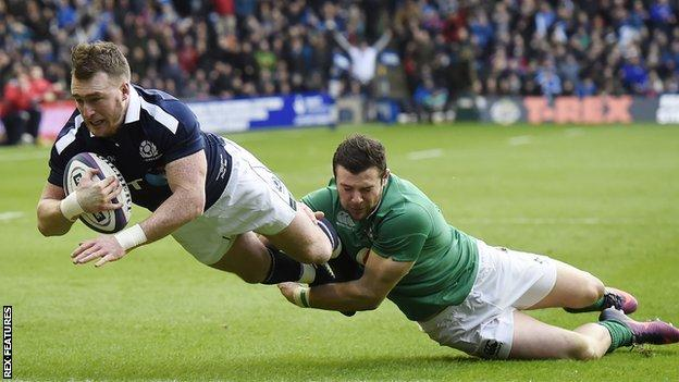 Scotland Stuart Hogg scores against Ireland