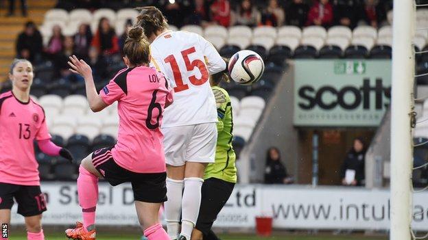 Jo Love heads Scotland into a 2-0 lead over Macedonia