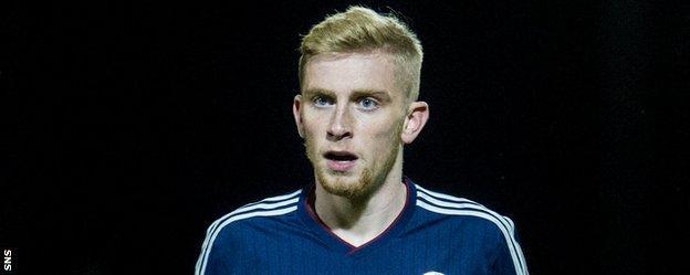 Oli McBurnie in action for Scotland Under-21s