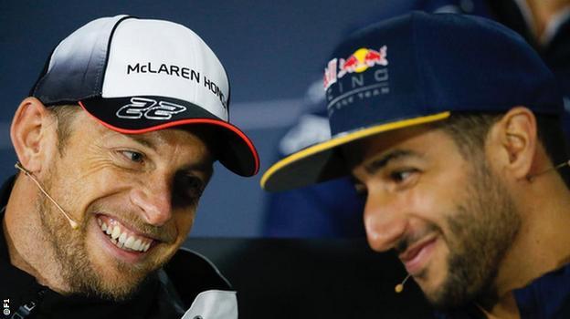 Jenson Button and Daniel Riccardio