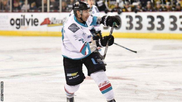 James Desmarais fires in Belfast's first goal in Saturday's game at the SSE Arena