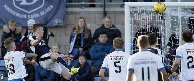 Rhys Healey scores for Dundee against Kilmarnock